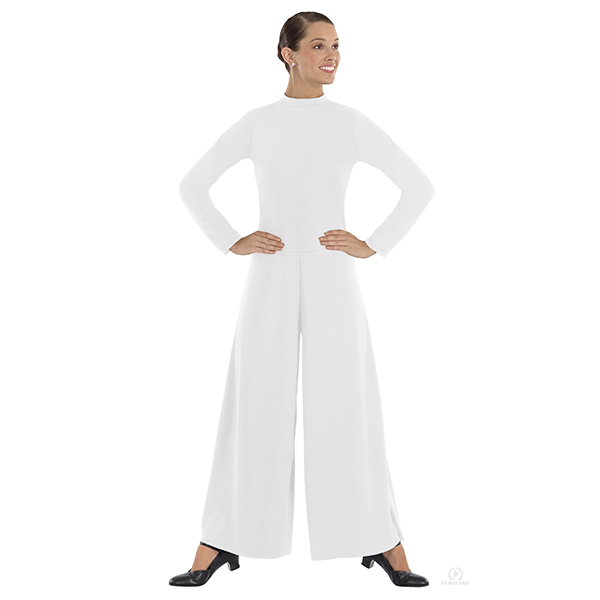Eurotard Womens Simplicity Polyester Long Sleeve Wide Leg High Neck Praise Jumpsuit 13846