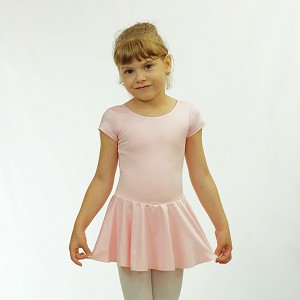 Basic Short Sleeve Nylon Skirted Leotard 512DR